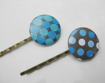 Blue and Brown Polka Dot Bobby Pins  B-62