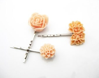 Peach Floral Bobby Pin Set