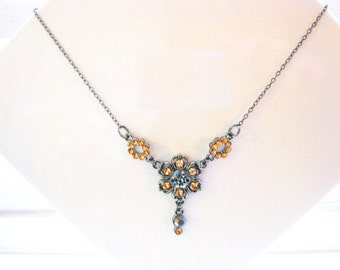 Amber Color Crystal and Gunmetal Necklace  CN-6