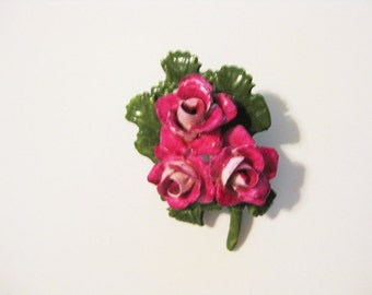Vintage English Pink Rose Boquet Brooch