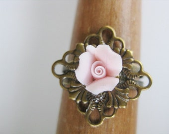 Porcelain Pink Rose and Brass Ring