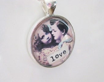 Love Vintage Valentine Silver and Glass Necklace