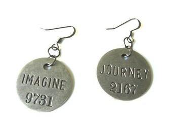 Journey, Imagine:  Pewter and Gunmetal Finish Stainless Steel Dangle Earrings