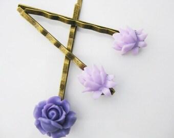 Purple Violet Rose and Lilac Lotus Bobby Pin Set  B-63