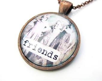 Friends: Vintage Inspired Image Copper and Glass Necklace