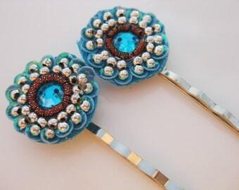 Bohemian Bobby Pin Pair:  Sequins, Silver Beads, Rhinestones B-67