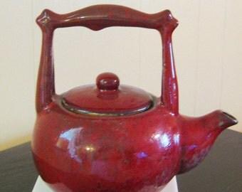 Maroon Burgundy Red Hand-Thrown Vintage Teapot