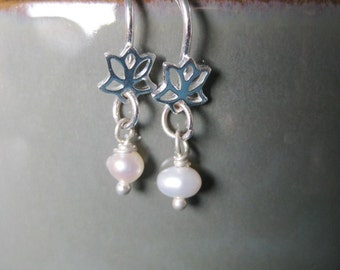 Sterling Silver Lotus and Freshwater Pearl Dangle Earrings