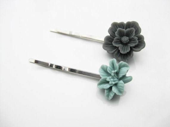 Fall and Winter Collection:  Grey and Light Blue Floral Bobby Pin Set