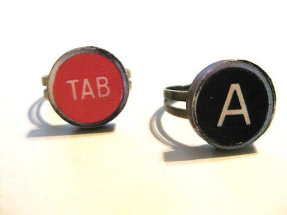 Vintage Style Typewriter Key Initial Ring