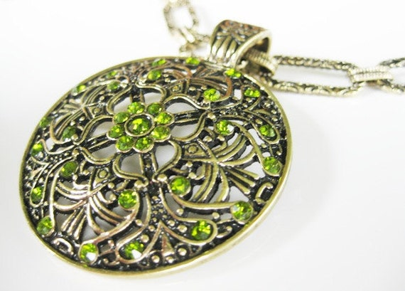 Bronze and Green Crystal Large Round Pendant Necklace