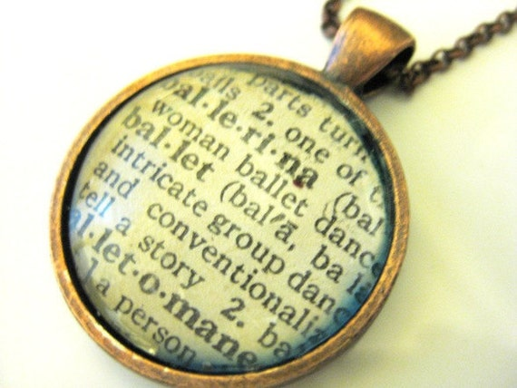 Ballerina, Ballet:  Vintage Dictionary Image Copper Pendant Necklace