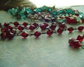 DeeP CRiMsoN Red FaceTed CZech glass Beaded Chain Dark OX Patina links