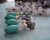 Bead Drop Dangle Charm...PaLe PinK  PeaRL Turquoise Magnesite...Smoky Quartz Luster glass Antiqued Brass Links...DarK Patina Wire
