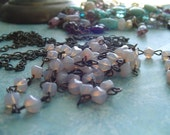 Milky Lilac Opaline Petite LanterN glass Beaded Rosary Chain Aged Dark Ox Patina wire links Czech Glass beads