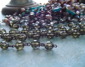 Sparkling Smoky Quartz Faceted glass Beaded Chain Aged Dark Patina wire links Czech Glass beads