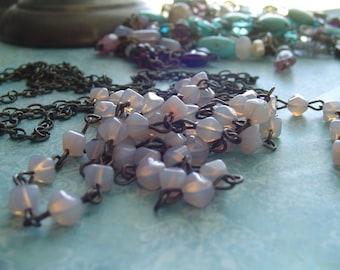 Milky Lilac Opaline Petite LanterN glass Beaded Rosary Chain Aged Dark Ox Patina wire links Czech Glass beads