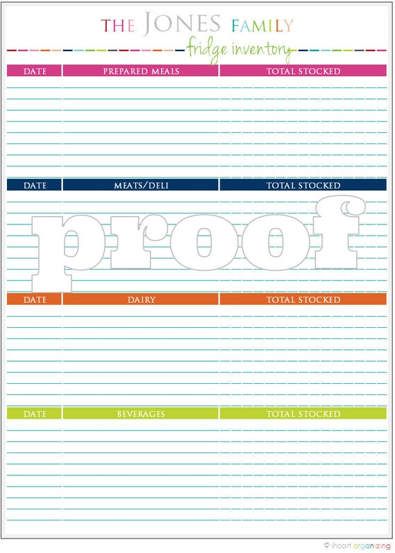 Personalized Fridge Inventory Printable