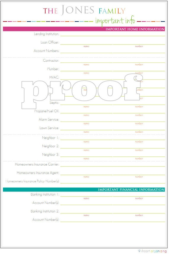 Personalized Important Household Information Printable