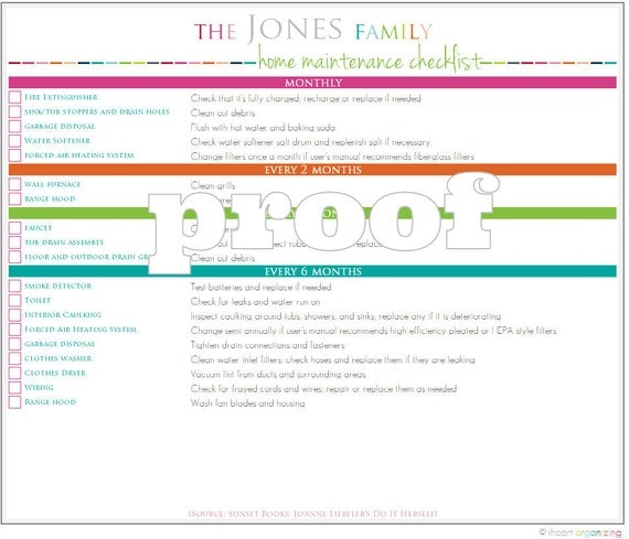 Personalized Home Maintenance Checklist Printable
