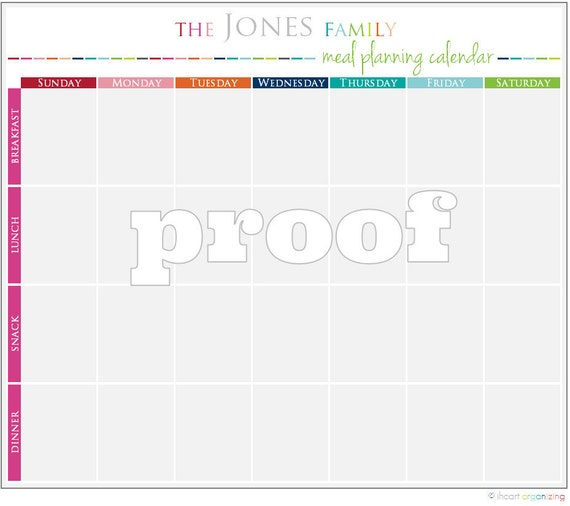 Personalized Meal Planning Calendar Printable
