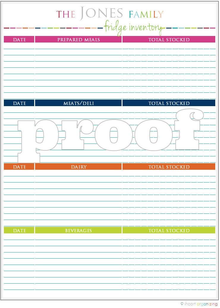 personalized fridge inventory printable