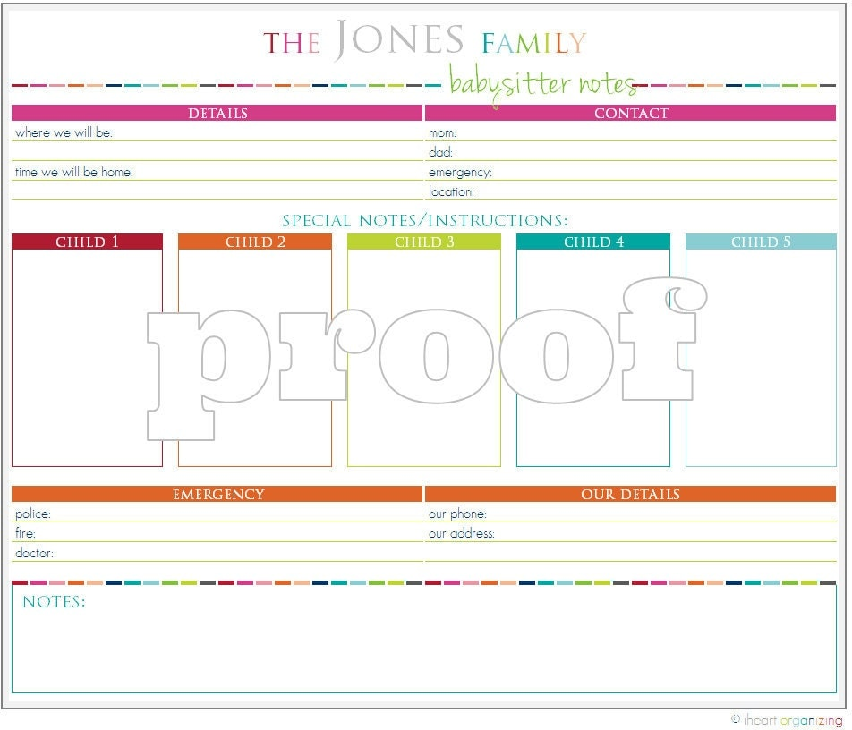 babysitter notes template koni polycode co