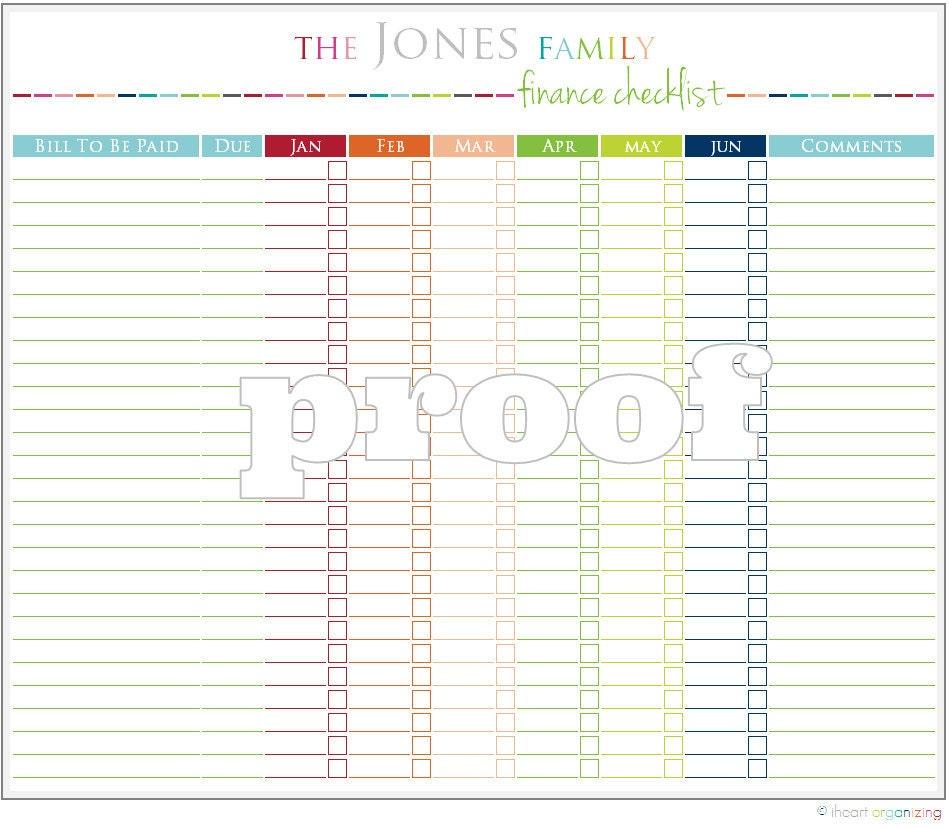 Personalized Finance Checklist Printable