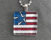 Glass Tile Pendant Necklace - American Flag- Chain Included