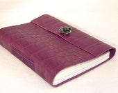 Purple Lambskin Leather Journal with rose