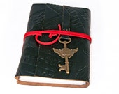 Embossed Black Leather Journal with Winged Clock Key Charm Bookmark
