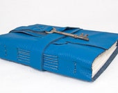 Blue Leather Journal with Antique Skeleton Key Bookmark