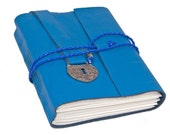 Blue Leather Journal with Heart Shaped Lock Charm Bookmark