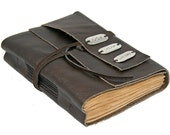Dark Brown Leather Journal with Tea Stained Pages