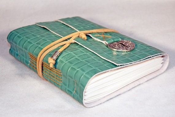 Green Leather Journal with Heart Shaped Lock Charm Bookmark