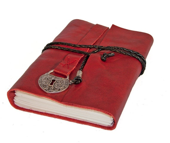 Red Leather Journal with Heart Shaped Lock Charm Bookmark