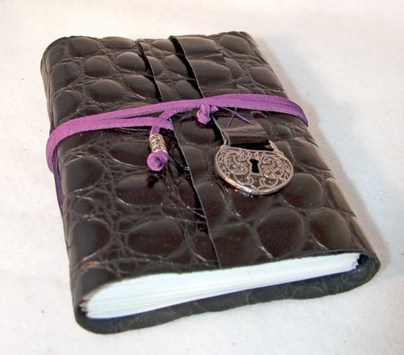 Black Leather Journal with Heart Shaped Lock Charm Bookmark