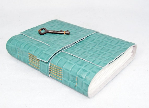 Key To My Heart Green Leather Journal
