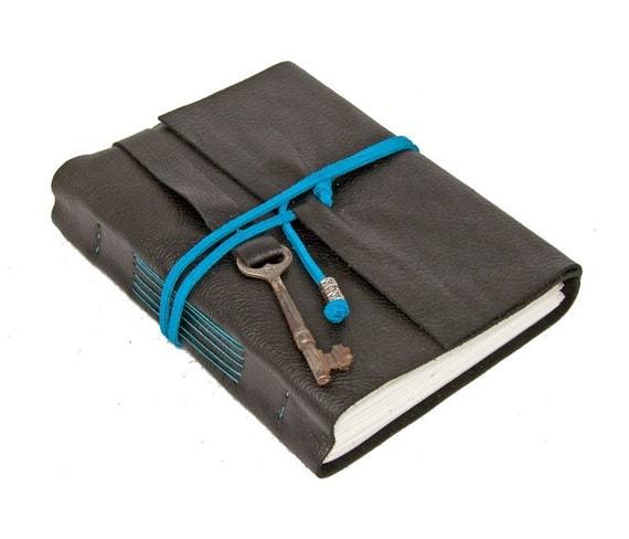 Black Leather Journal with Antique Skeleton Key Bookmark