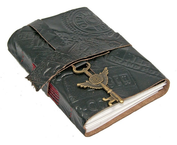 Black Leather Journal with Winged Clock Key Charm Bookmark