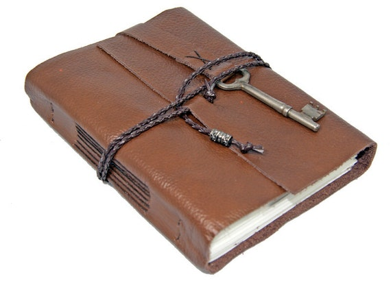 Brown Leather Journal with Antique Skeleton Key Bookmark