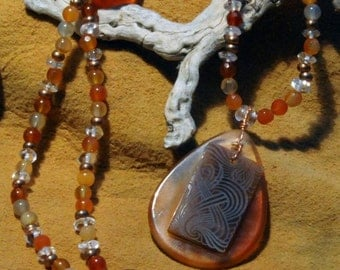 Carnelian and Copper necklace with Quartz