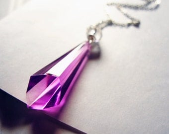 Ultraviolet - vintage purple acrylic and crystal necklace