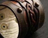 Ethos Leather Cuff, Leather Bracelet, Brown Leather Cuff Bracelet with Celtic Design. Celtic Sunrise Cuff