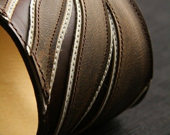 """Leather Cuff, Leather Bracelet: brown leather cuff with a brown wing design """"Americana Angel Wing Cuff"""""""