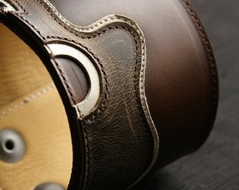 """Leather Cuff, Leather Bracelet: brown leather cuff with a brown leather guitar design """"Americana Melody Cuff"""""""