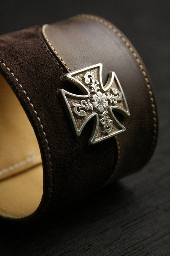 "Leather Cuff, Suede Cuff:  brown leather and suede cuff with a maltese cross medallion ""Valor Cuff"""
