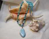 SALE-Rare Larimar and Sterling Silver Necklace