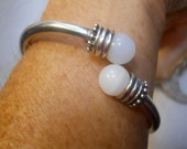 Sterling Silver Indonesian Twist Bracelet with  Clear White Beads