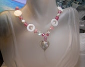 SALE-Pink Lampwork Heart Necklace